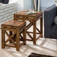 2er Set Beistelltisch Massiv-Holz Sheesham Wohnzimmer-Tisch Design dunkel-braun Landhaus-Stil Couchtisch B/H/T ca. 29/40/29cm